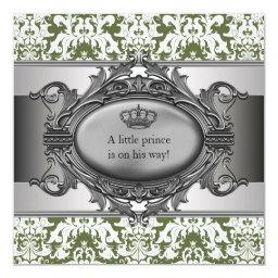 Green Damask Crown Little Prince Boy Baby Shower
