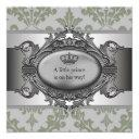 Green Damask Crown Little Prince Boy Baby Shower Invitations