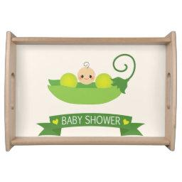 Green Sweet Pea Baby Shower Serving Tray
