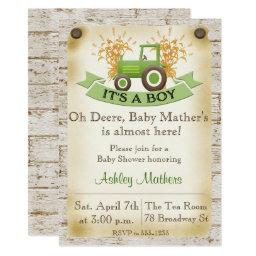 Green Tractor Baby Boy Shower Invitation