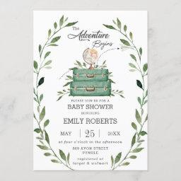 Greenery Adventure Baby Shower Journey Suitcase Invitation