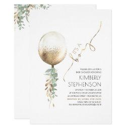 Greenery And Gold Glitter Balloon Baby Shower Invitation