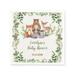 Greenery Botanical Woodland Animals Baby Shower Napkin