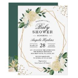 Greenery Floral Gold Glitters Baby Shower Brunch Invitations
