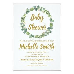 Greenery Gold Minimalist Olive Branch Baby Shower Invitation