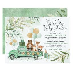Greenery Gold Woodland Drive Through Baby Shower Invitation