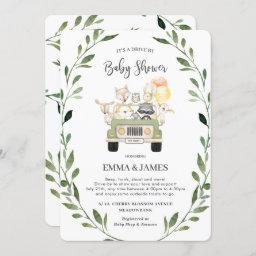 Greenery Woodland Drive By Baby Shower Neutral Invitation