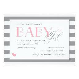 Grey & White Stripe  Light Pink Accents