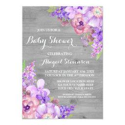 Grey Wood Purple Watercolor Flowers Baby Shower