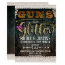 Guns Or Glitter Wood Lace Gender Reveal Shower Invitation