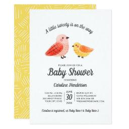 Handpainted Watercolor Bird Baby Shower Invitation