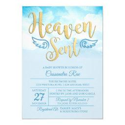 Heaven Sent Baby Shower Invitations