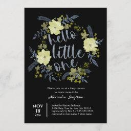 Hello Little One Floral Chartreuse Baby Shower Invitation