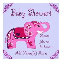 Henna Elephant (Pink/Purple) (Baby Shower)