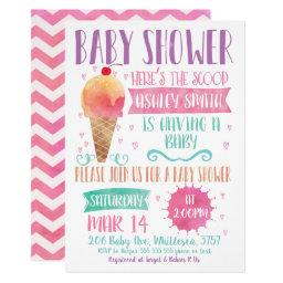 Heres The Scoop Ice-cream Baby Shower Invitation