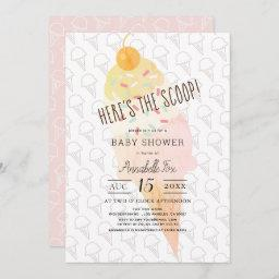 Here's The Scoop Ice Cream Girl Pink Baby Shower Invitation