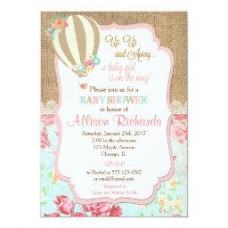 Hot Air Balloon Baby Shower Invitations Burlap Lace