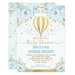 Hot Air Balloon Baby Shower Pastel Blue Floral Invitation