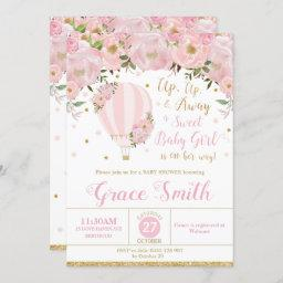 Hot Air Balloon Floral Baby Shower Girl Invitation
