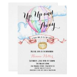 Hot Air Balloon Invitation Baby Girl Shower
