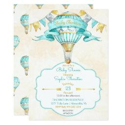 Hot Air Balloon Turquoise Gold Gender Neutral