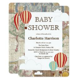 Hot Air Balloons & Clouds World Travel Baby Shower Invitations