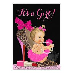 Hot Pink Leopard High Heel Shoe Baby Shower Invitation