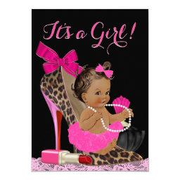 Hot Pink Leopard High Heel Shoe Ethnic Baby Shower Invitation