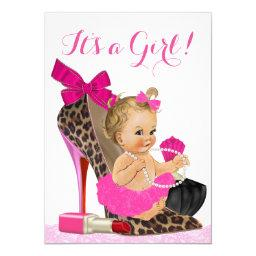 Hot Pink Leopard Shoe Baby Shower Invitations
