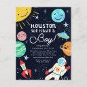 Houston We Have A Boy Space Baby Shower Invitation Postinvitations