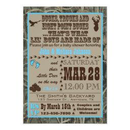 Hunting Camo Baby Boy Shower Invitationss Blue