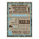 Hunting Camo Baby Boy Shower Invitationss Blue Trac