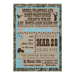 Hunting Camo Baby Boy Shower  Blue Trac