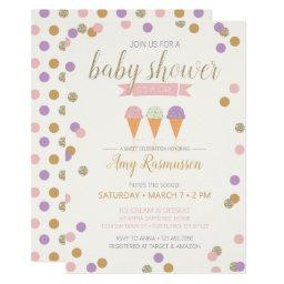 Ice Cream Baby Shower Invitation - It's A Girl