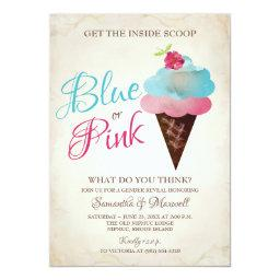 Ice Cream Gender Reveal Invitation Blue Or Pink