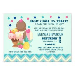 Ice Cream Social How Cool - Baby Shower Invitation