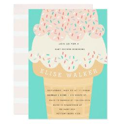 Ice Cream & Sprinkles Baby Shower Invitation