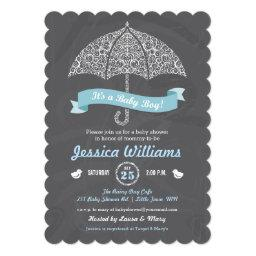It's A Boy Baby Shower Umbrella Chalkboard Invite
