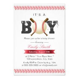It's A Boy Baseball Stitching Sports Baby Shower Invitation