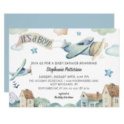 It's A Boy Cute Watercolor Airplanes Baby Shower Invitation