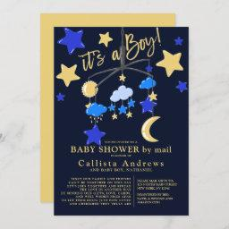 It's A Boy Moon Stars Mobile Baby Shower By Mail Invitation