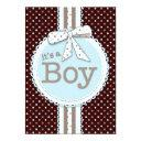 It's A Boy Ribbon & Bow Baby Shower Blue Dots Invitations