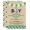 It's A Boy! Soccer Themed Co-ed Baby Shower Invitation