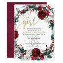 It's A Girl Burgundy Gold Christmas Baby Shower Invitation