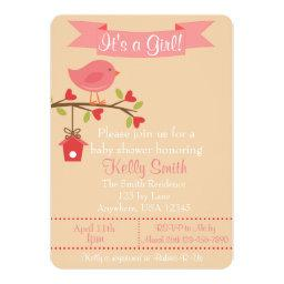 It's A Girl Pink Bird Baby Shower Invitations