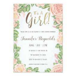 It's A Girl Pink Floral Baby Shower Invitation