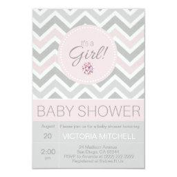 It's a Girl Pink/Grey Chevron Baby Shower
