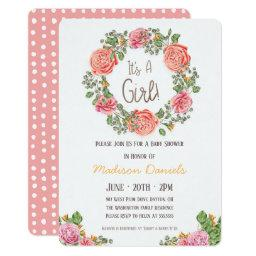 It's A Girl! - Pink Wreath Baby Shower Invitation
