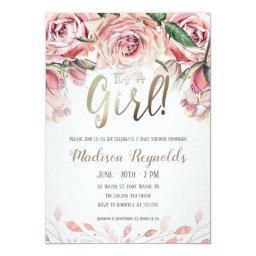 It's A Girl - Tea Party Baby Shower Invitation