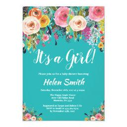 It's A Girl Teal Floral Baby Shower Invitation
